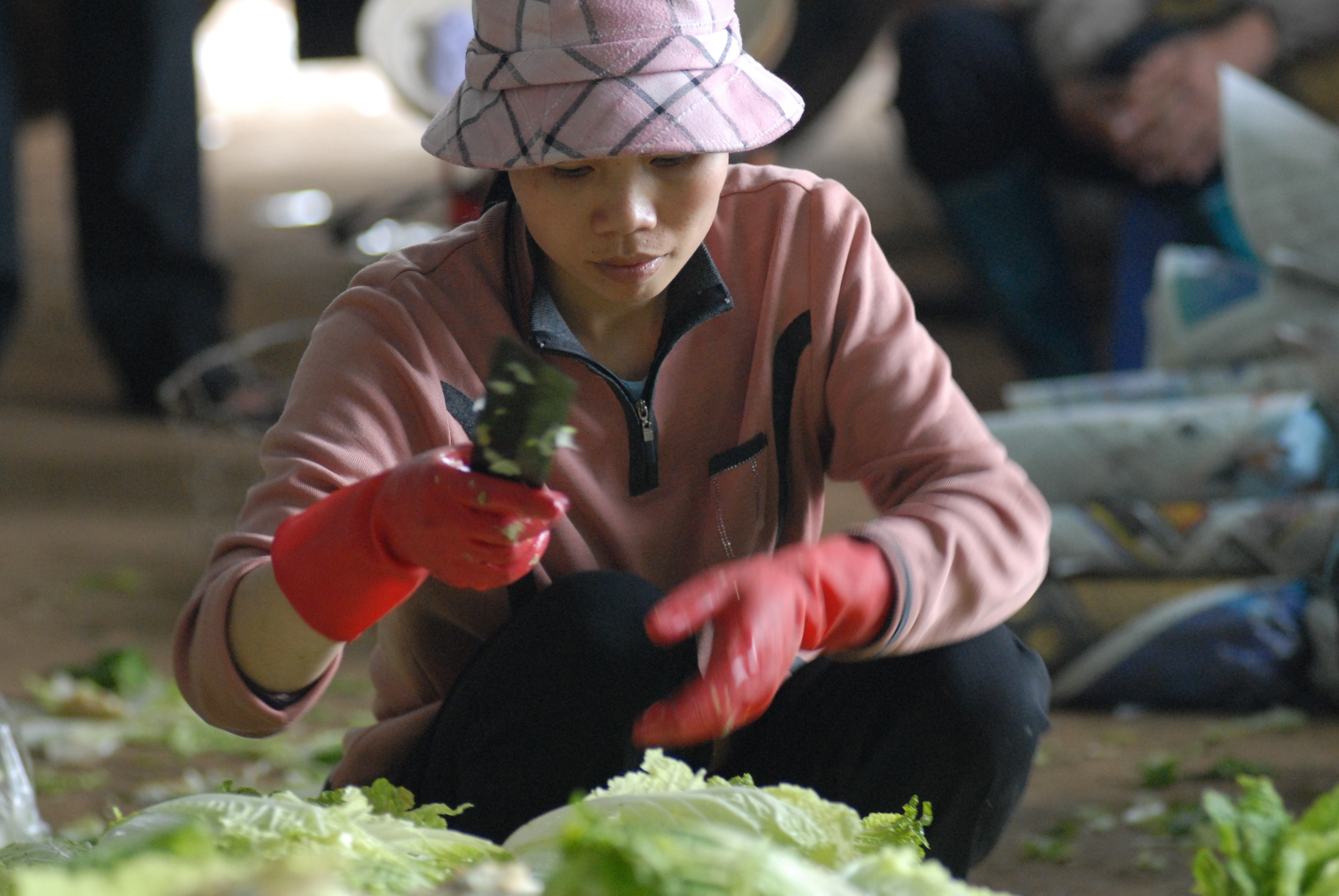 Vietnamese Saleswoman on a Vegetable Market
